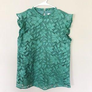 Loft green lace blouse tank
